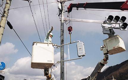 歩行者専用信号機取付工事